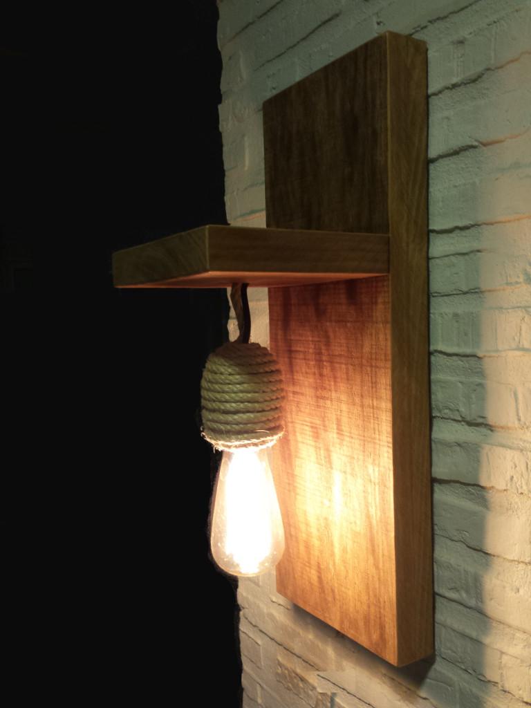 L mpara r stica de madera maciza y cuerda - Como hacer lamparas rusticas ...